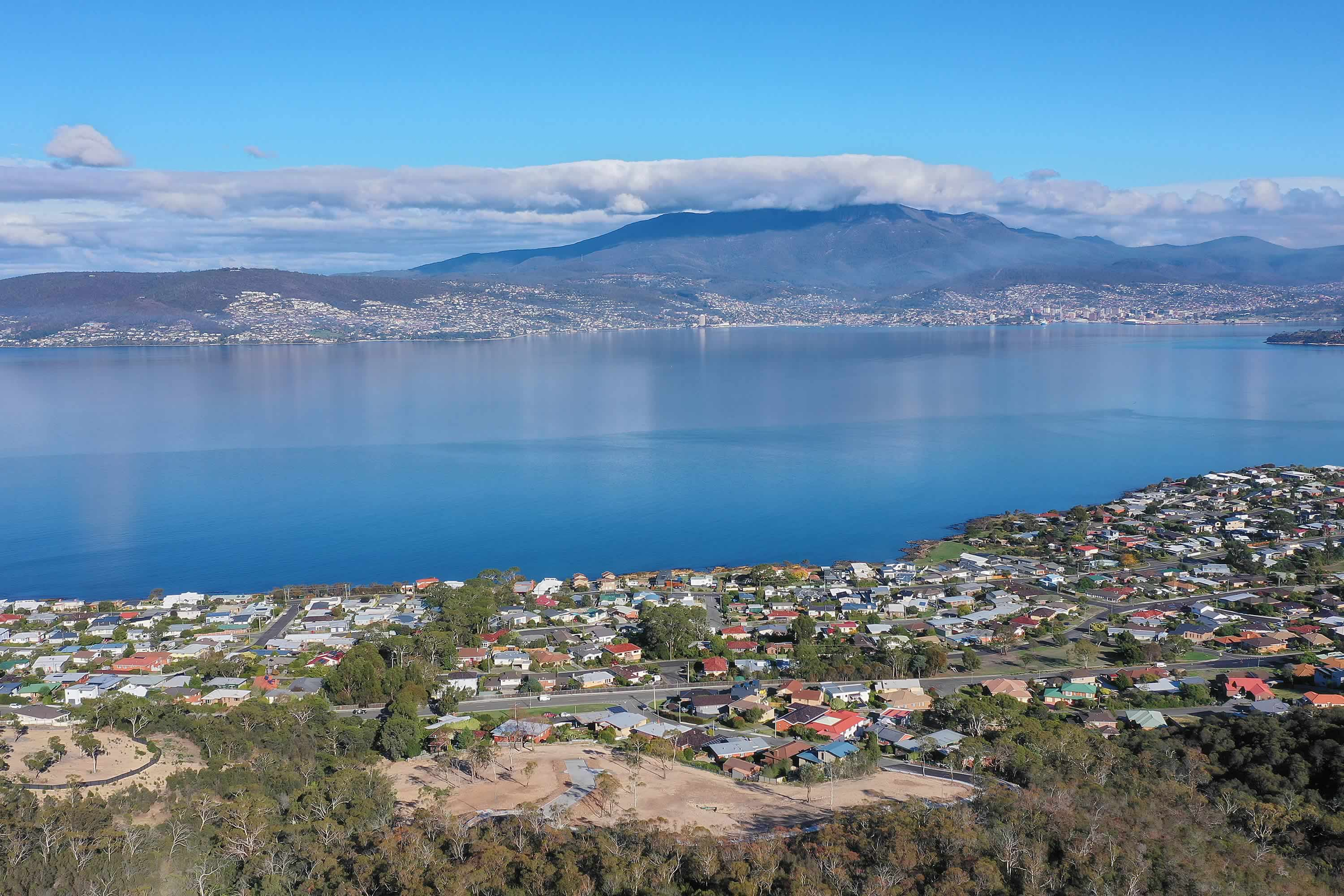 View from Tunah Street looking west towards the Hobart city centre, Sandy Bay, and kunanyi / Mount Wellington. Photo: Owen Fielding.